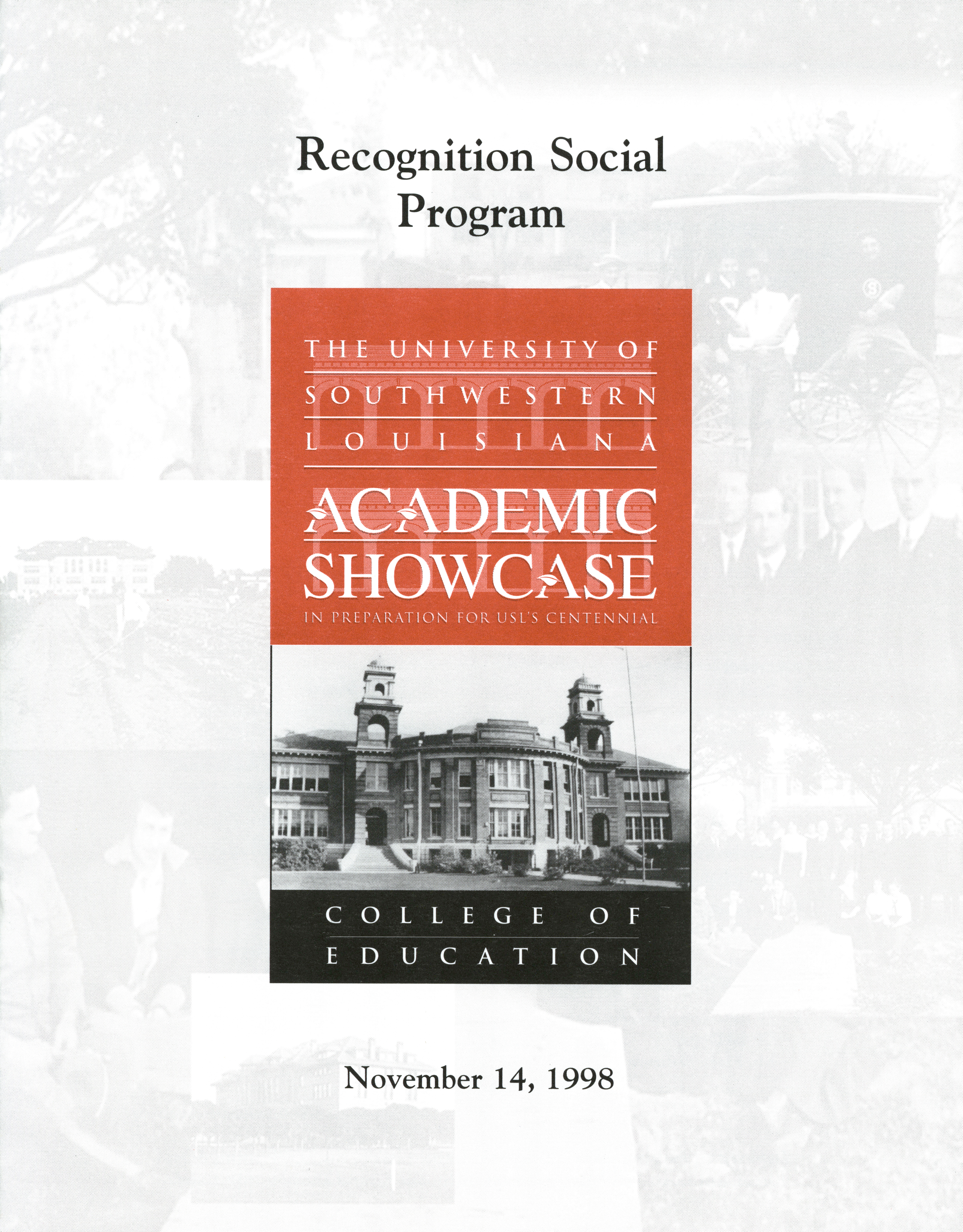 Recognition Social Program Front Cover Page