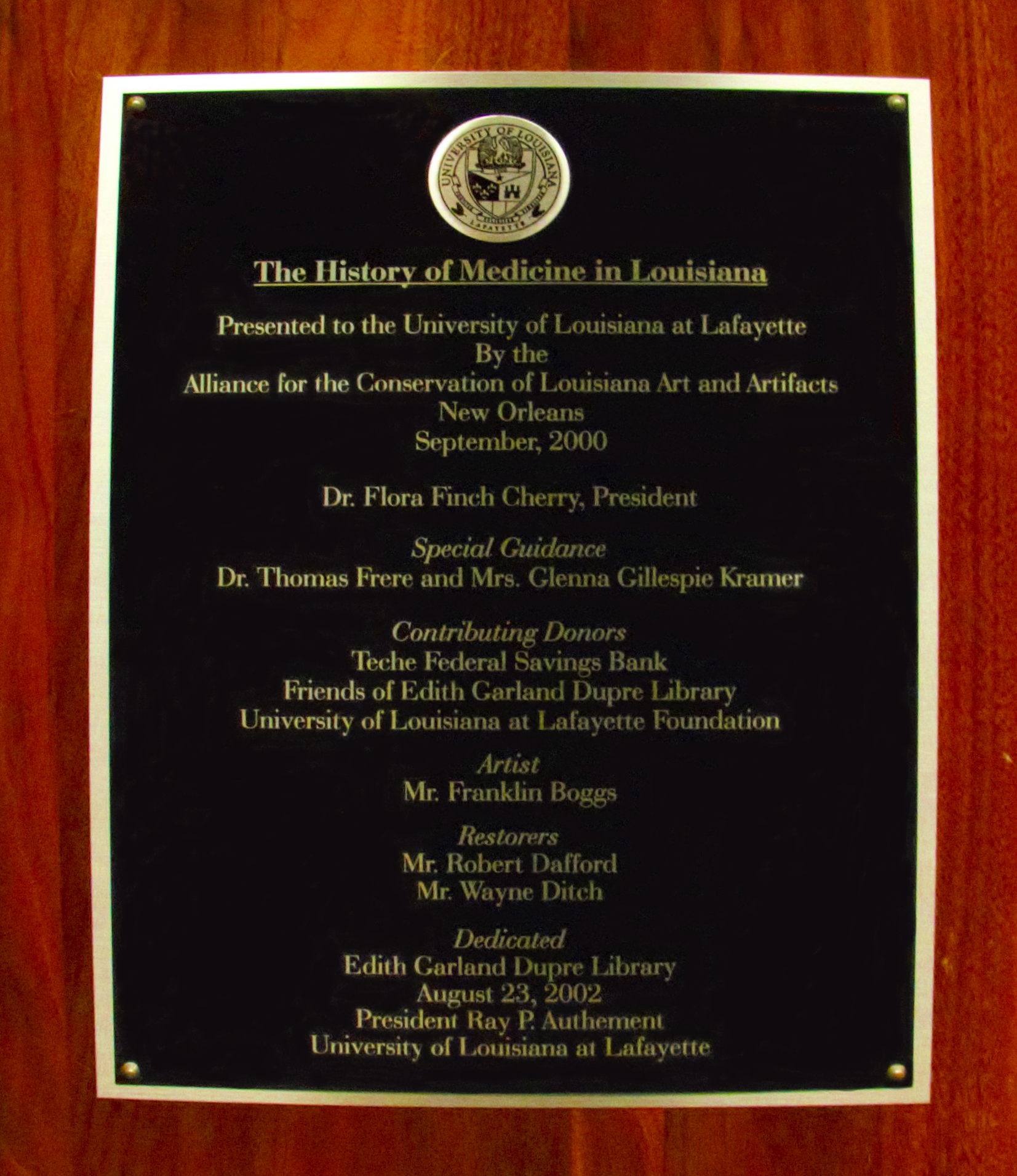 The History of Medicine Mural Dedication Plaque