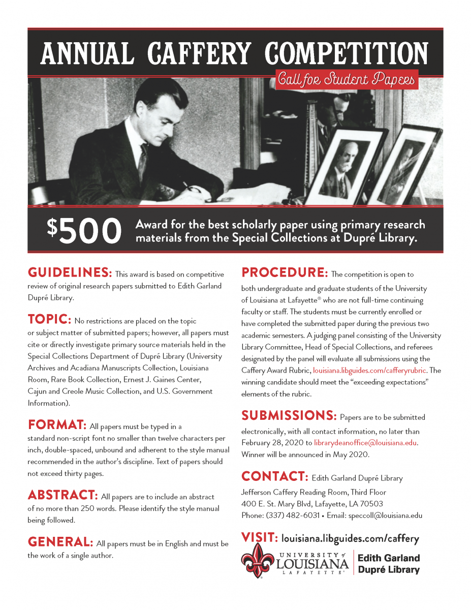 Annual Caffery Competition Call for Student Papers Flyer