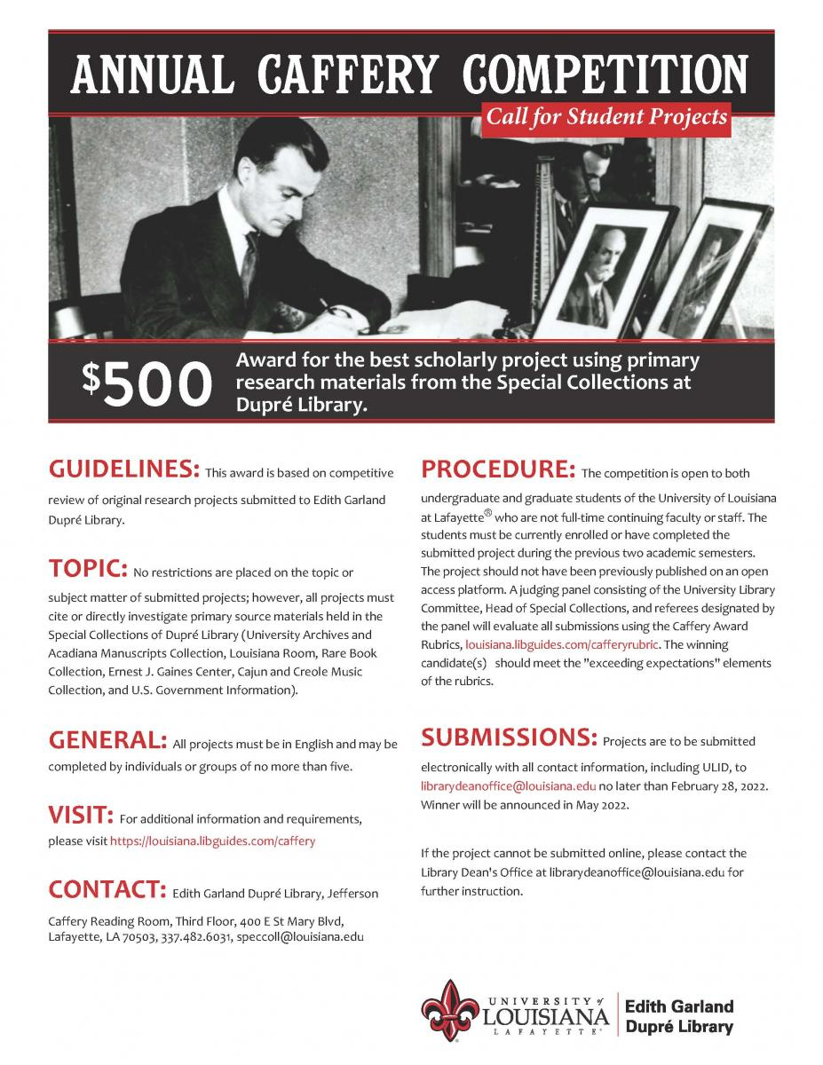 Annual Caffery Competition Call for Student Research Projects Flyer