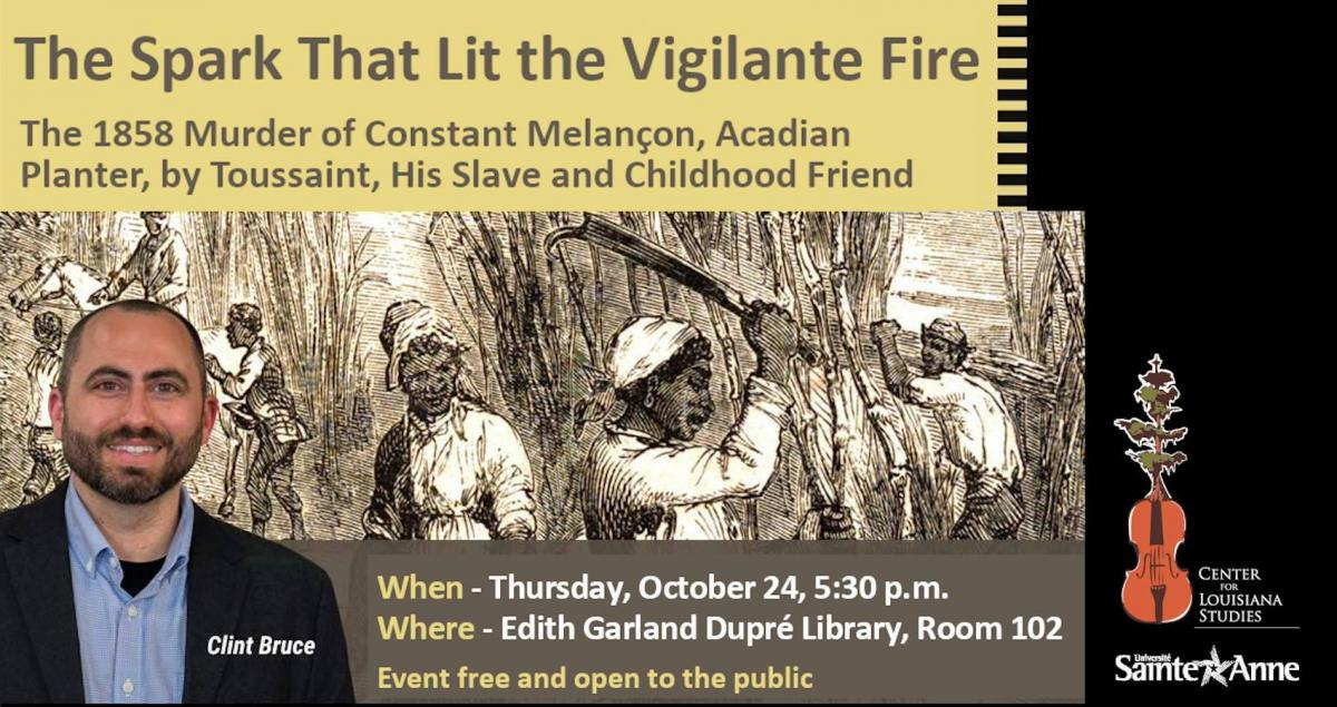 Flyer: Clint Bruce Talk: The Spark That Lit the Vigilante Fire - 2019 Fall