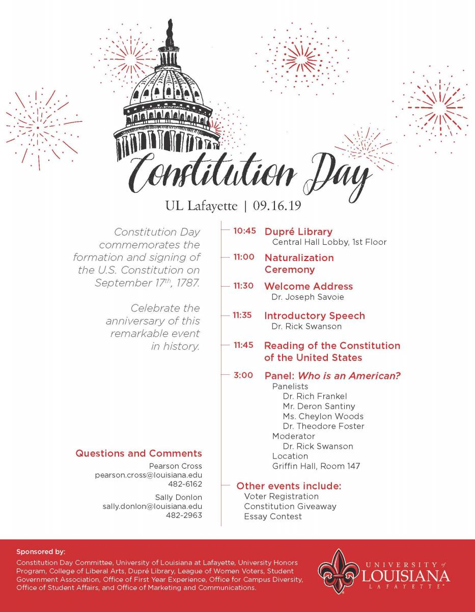 Flyer: Constitution Day - 2019 Fall
