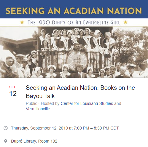 Event: Books on the Bayou Talk - Seeing an Acadian Nation - 2019 Fall
