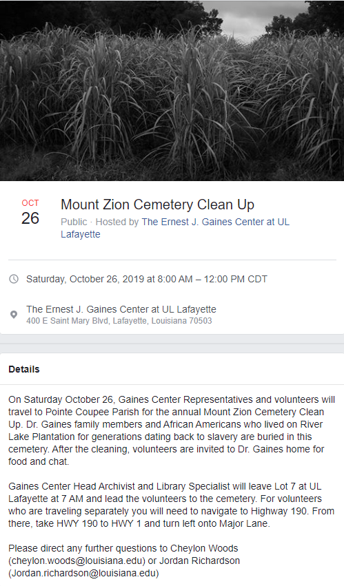 Cemetery Clean Up: 2019 Fall