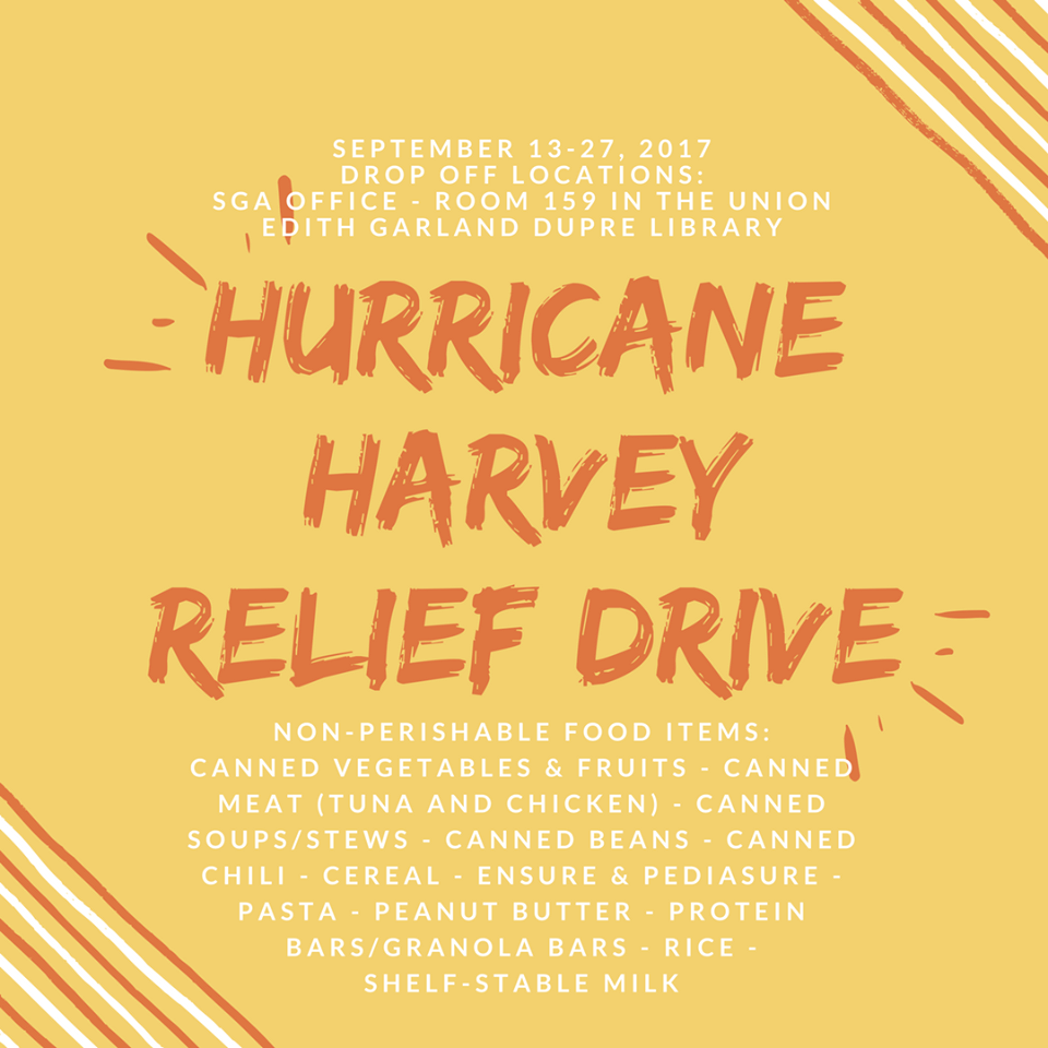 Flyer: Hurricane Harvy Relief Drive - 2017 Fall