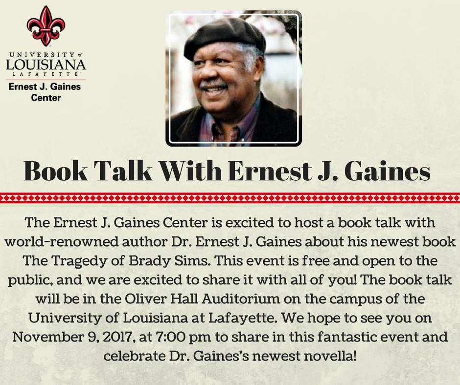 Flyer: Gaines Book Talk - 2017 Fall