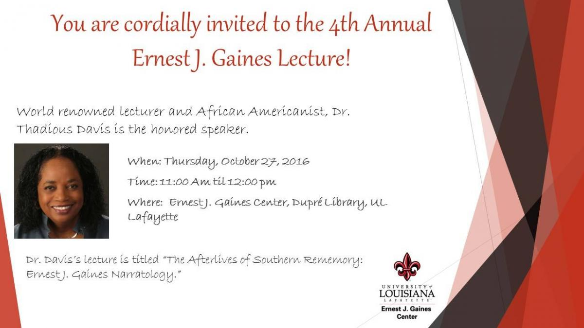 Flyer: Gaines Lecture Series - 2016 Fall