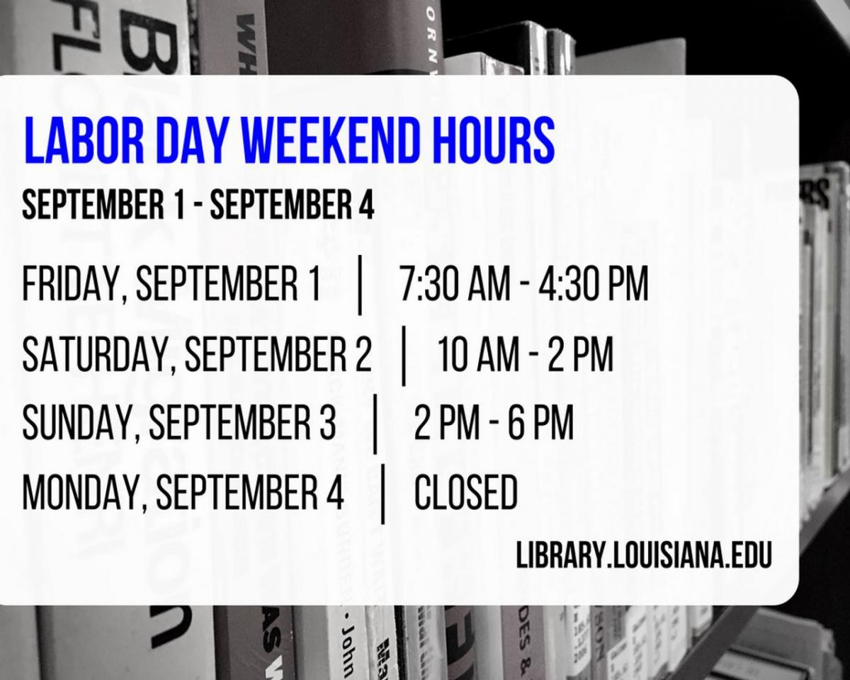 Flyer: Hours - 2017 Fall Labor Day