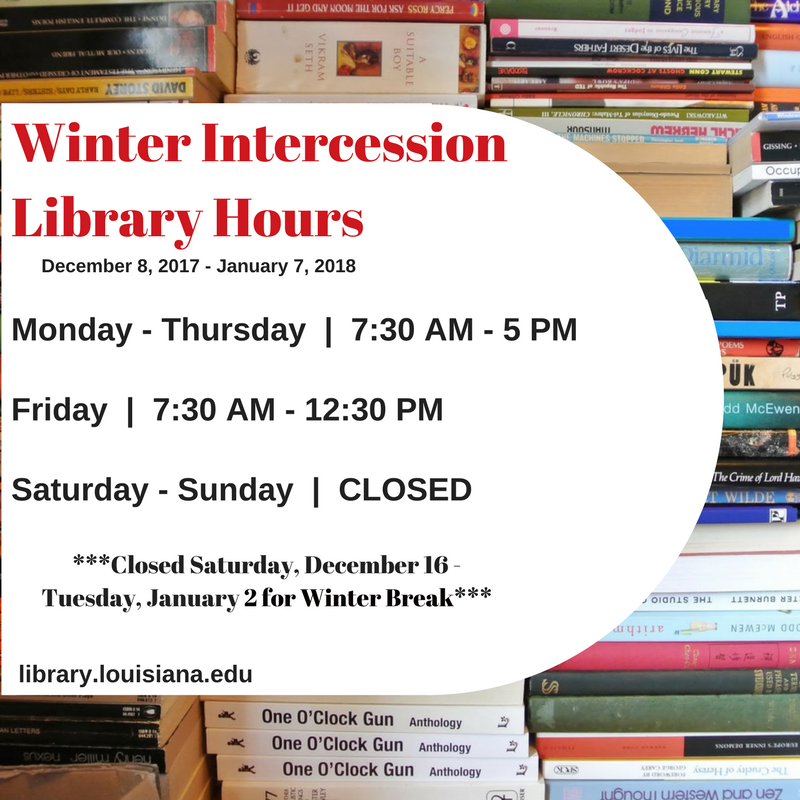 Flyer: Hours - 2017 Fall Winter Intercession