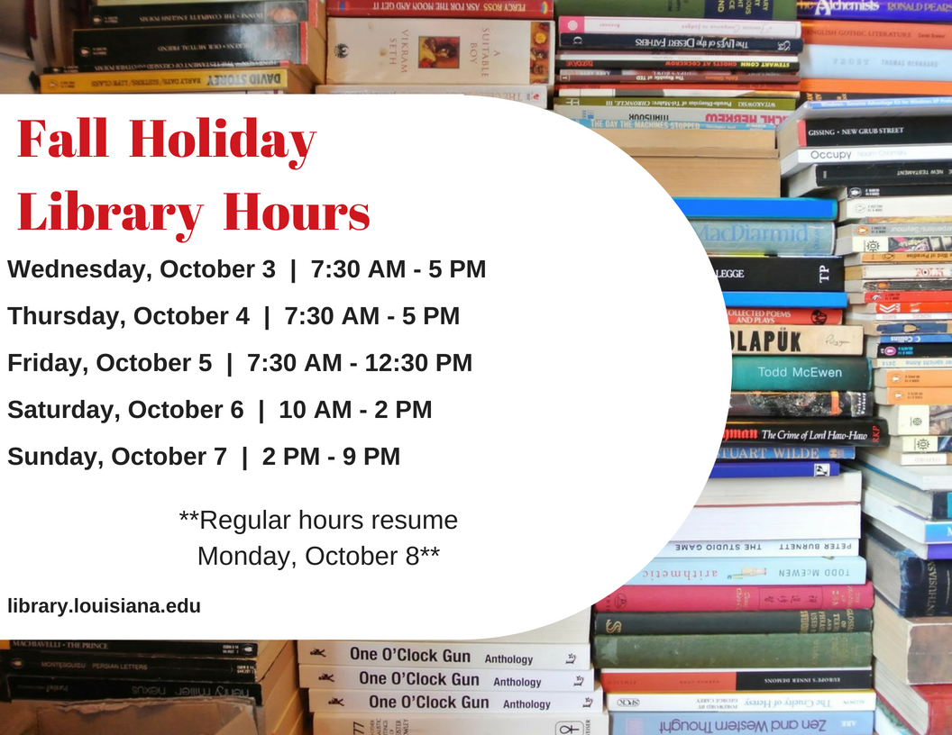 Flyer: Hours - 2018 Fall Labor Day