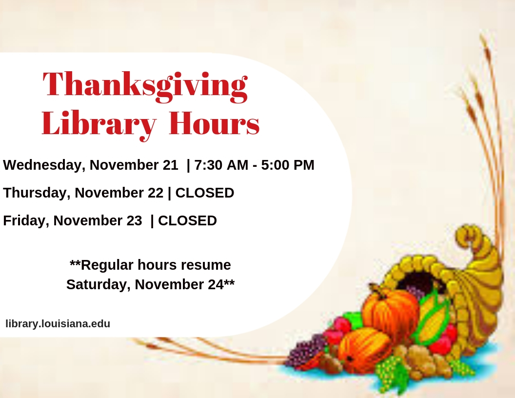 Flyer: Hours - 2018 Fall Thanksgiving