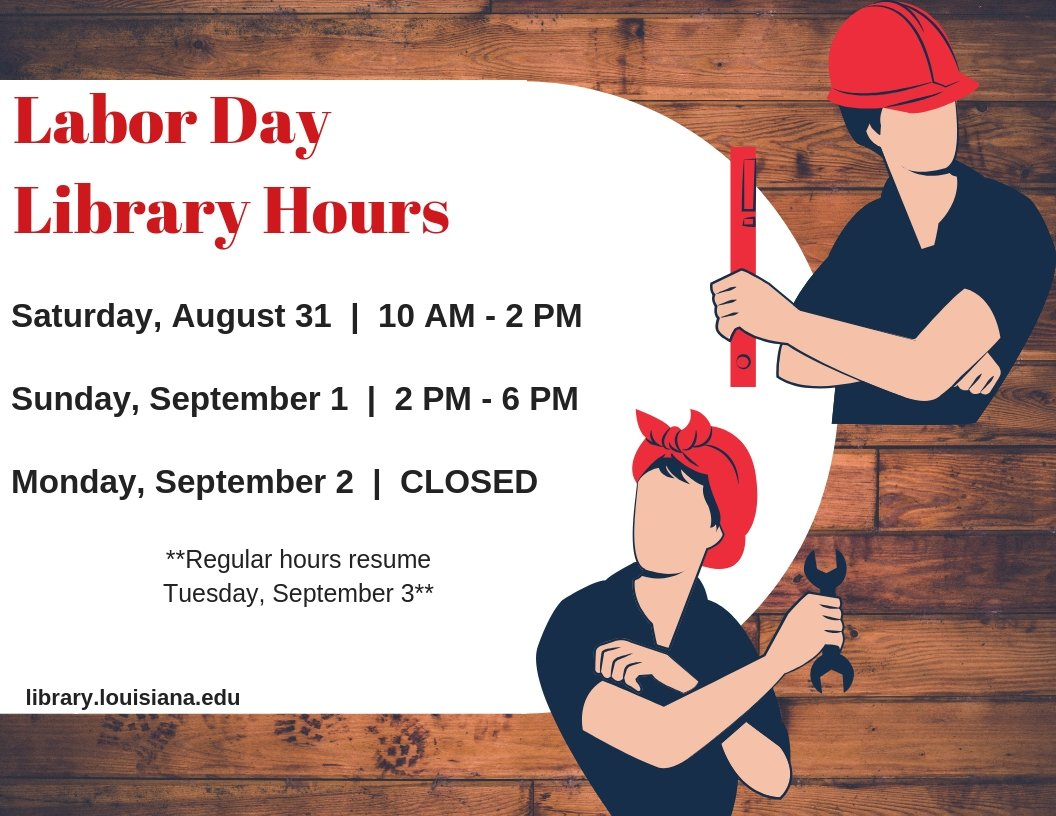Flyer: Hours - 2019 Fall Labor Day