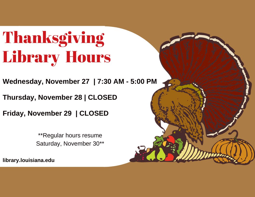Flyer: Hours - 2019 Fall Thanksgiving
