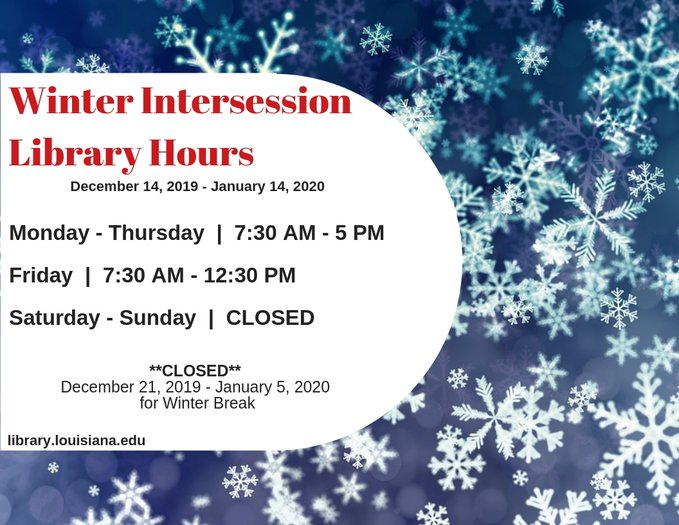 Flyer: Hours - 2019 Winter Intersession