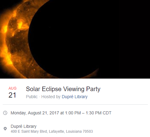 Interactive Activities: Solar Eclipse Viewing Party- 2017 Fall