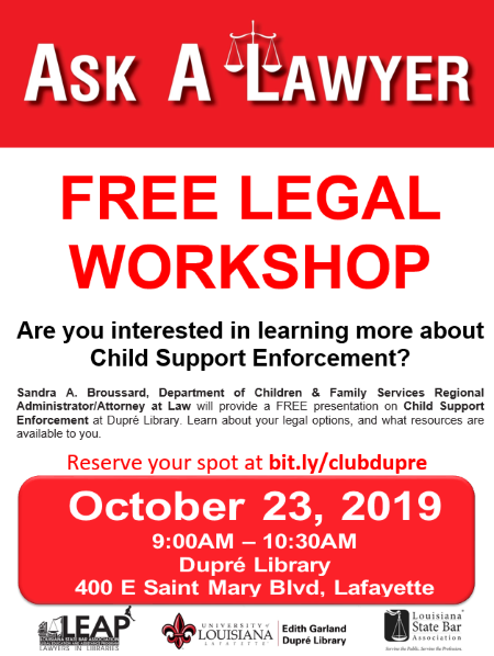 Flyer: Ask A Lawyer - 2019 Fall