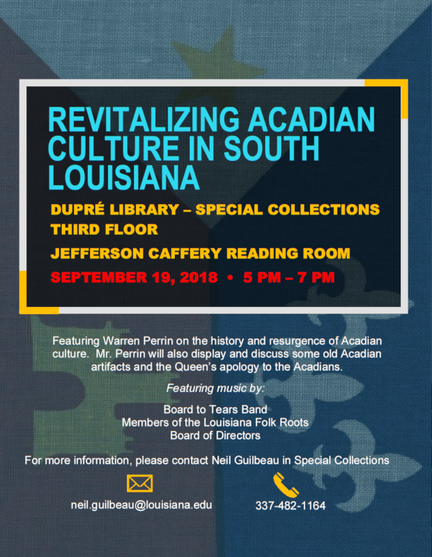 Flyer: Programs - Revitalizing Acadian Culture in South Louisiana - 2018