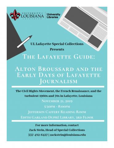 Flyer: Programs - Early Days of Lafayette Journalism - 2019 Fall