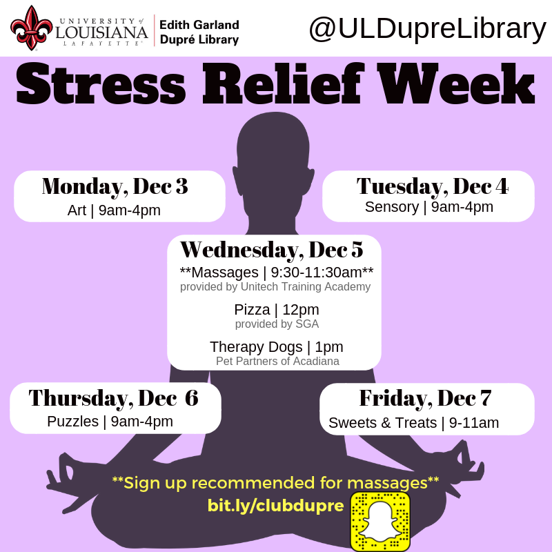 Flyer: Stress Relief Week - 2018 Fall