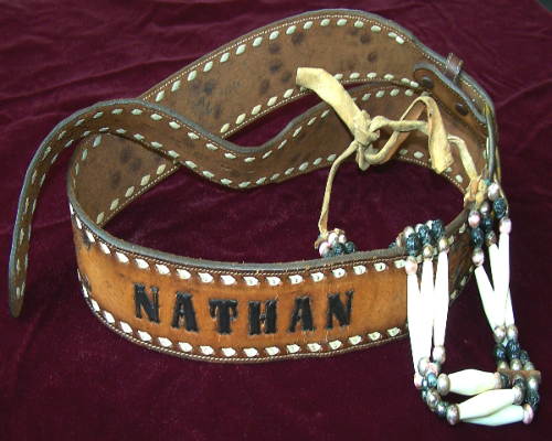 Belt & jewelry worn by Cajun musician Nathan Abshire